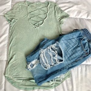 AEO Soft & Sexy Lace Up V Neck Short Sleeve Green